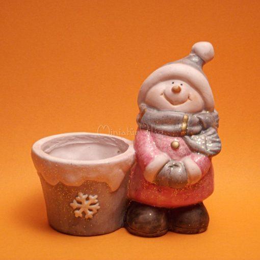 Karácsonyi Dísz - Hóember Kaspóval