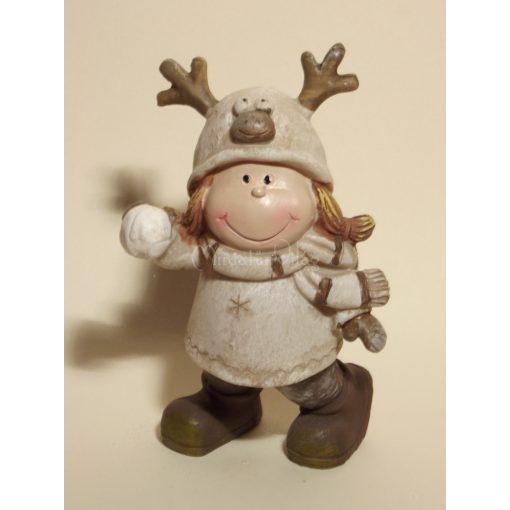 Karácsonyi dísz - Kislány hógolyóval