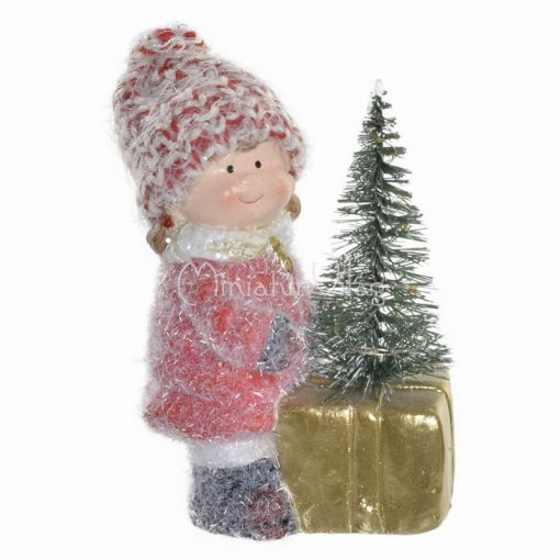 Karácsonyi dísz - Kislány fenyőfával Ledes