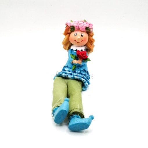 Kislány Virággal Figura lógólábú
