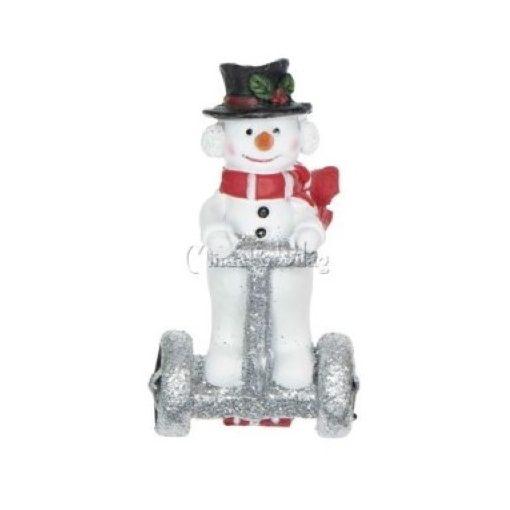 Karácsonyi dísz - Hóember Segwayen Figura Kicsi